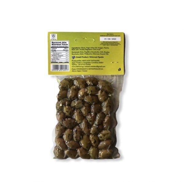Grüne Oliven mit Thymian und Basilikum